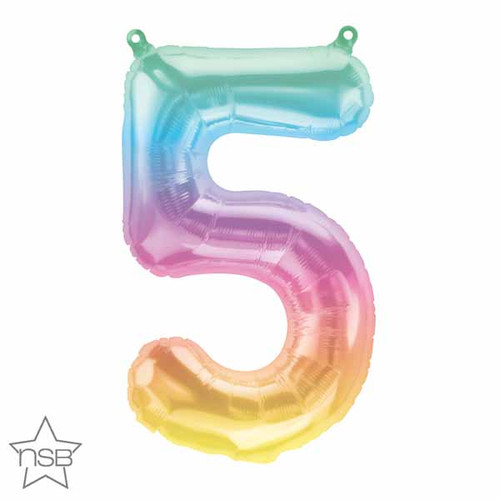 """16"""" Air-Filled No. 5 Shape Foil Decor Jelly Ombre"""