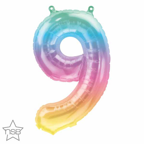 """Balloon 16"""" Air-Filled No. 9 Shape Foil Decor Jelly Ombre"""