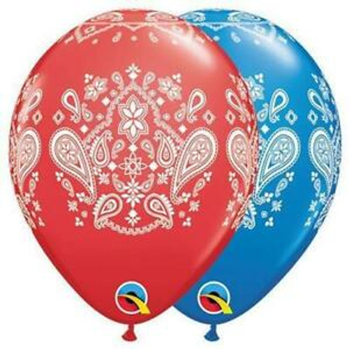 Red or Blue Western Bandana Latex Balloons