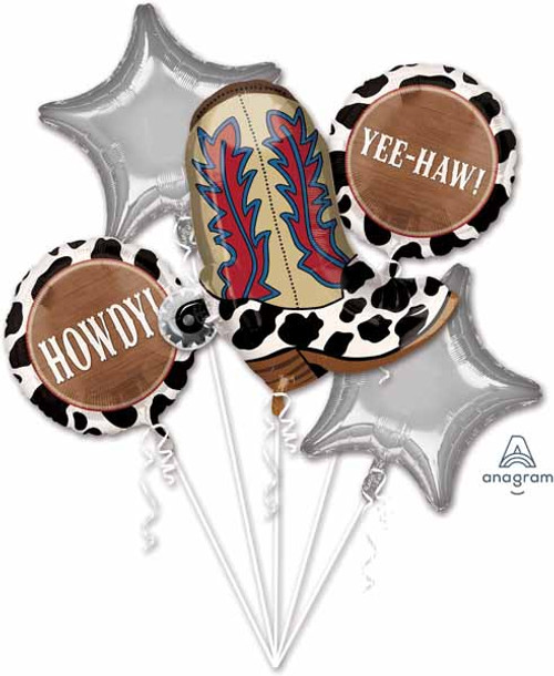 Anagram Yee-Haw Howdy Western Cowboy Birthday Balloon Bouquet 5 Mylars