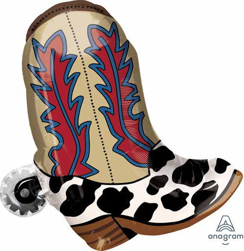 """Anagram Supershape 24"""" Cowboy Boot Western Foil Balloon Party Decor"""