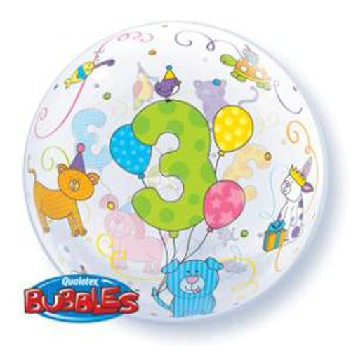 3rd Birthday Cuddly Pets Bubbles Balloon