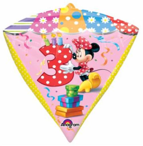Minnie Mouse Age 3 Birthday Foil Diamondz Shaped Balloon
