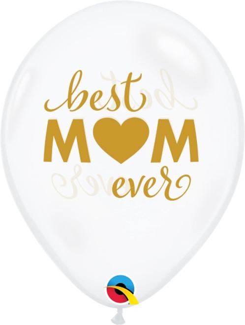 Diamond Clear Best Mom Ever Latex Balloon