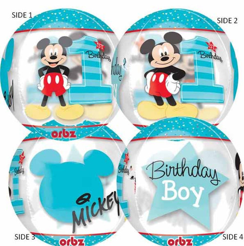 See-Thru Mickey Mouse Orbz 1st B-Day Balloon