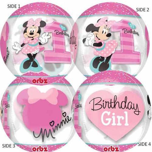See-Thru Minnie Mouse Orbz 1st B-Day Balloon