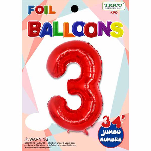 """34"""" Red Number 3 Supershape Decorative Foil Balloon"""