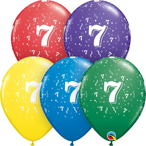 7th Birthday Or Anniversary Latex Balloons Assorted Colors