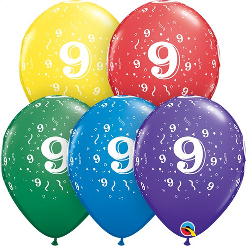 9th Birthday Or Anniversary Latex Balloons Assorted Colors