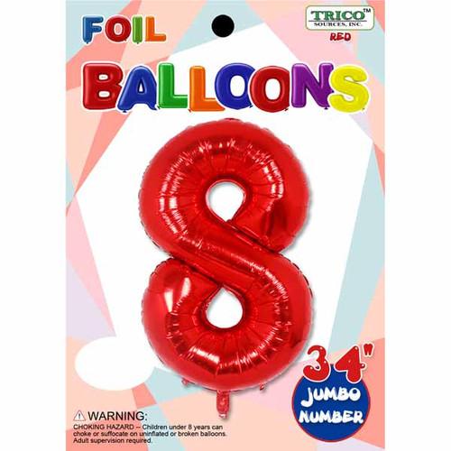 Jumbo Supershape #8 Red Birthday Foil Balloon