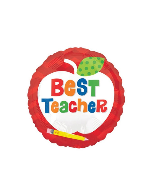"18"" Round Best Teacher Apple Foil Balloon"