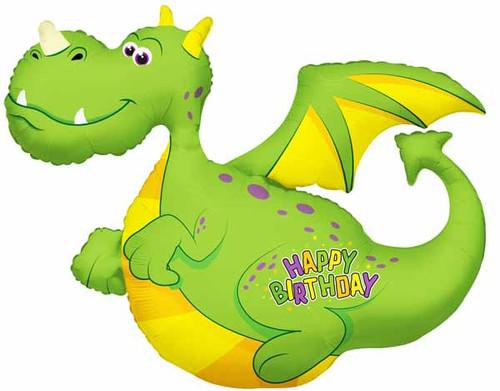 "36"" Green Dragon Birthday Foil Jumbo Balloon"