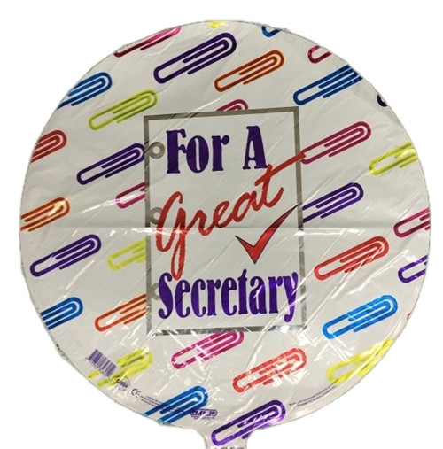 "For a great secretary 18"" Mylar balloon"