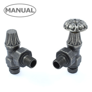 ABB-MAN-PEW - Abbey Radiator Valve and Lock-Shield - Pewter (Angled Manual)