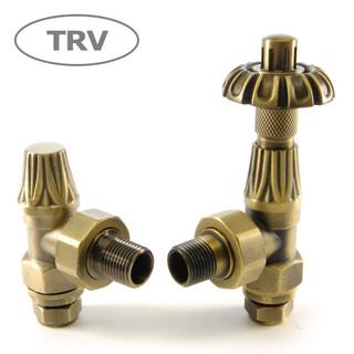 ABB-TRV-OEB - Abbey Thermostatic Radiator Valve & Lock-Shield - Old English Brass (Angled TRV)
