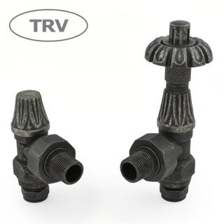 ABB-TRV-PEW - Abbey Thermostatic Radiator Valve & Lock-Shield - Pewter (Angled TRV)