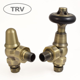 ADM-AG-AB - Admiral Traditional Thermostatic Radiator Valve - Antique Brass (Angled TRV)