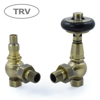 AMB-AG-AB - Amberley Thermostatic Radiator Valves - Antique Brass (Angled TRV)