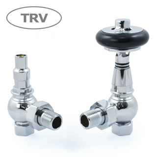 AMB-AG-C - Amberley Thermostatic Radiator Valves - Chrome (Angled TRV)