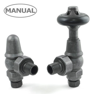 COM-AG-PEW - Commodore Traditional Manual Radiator Valve - Pewter (Angled Manual)