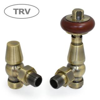 FAR-AG-AB - Faringdon Traditional Thermostatic Radiator Valve - Antique Brass (Angled TRV)