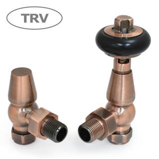 FAR-AG-AC - Faringdon Traditional Thermostatic Radiator Valve - Antique Copper (Angled TRV)