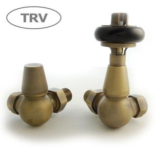 FAR-CR-OEB - Faringdon Traditional Thermostatic Radiator Valve Old English Brass (Corner TRV)