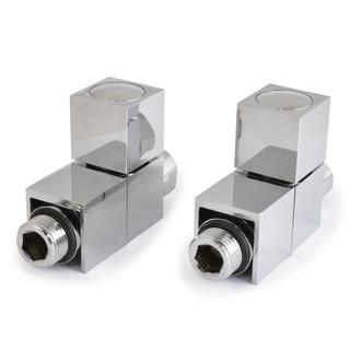CUBE2-ST-C - Cube Straight Square Radiator Valves - Chrome