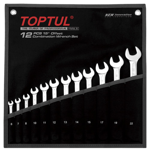 Toptul Combination Wrench Sets 15° Offset (GPAB1204)