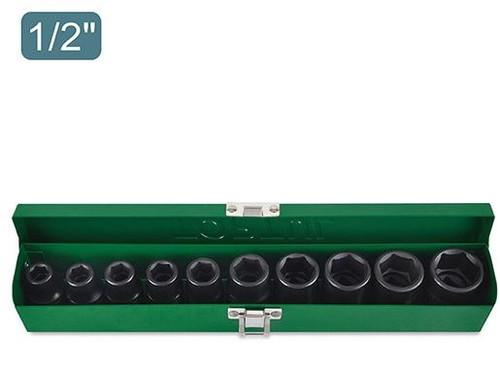 "Toptul 10PCS 1/2"" DR. 6PT Flank Impact Socket Set (METRIC) (GDAD1001)"