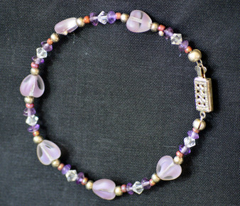 Bracelet/ Purple and Glass Heart