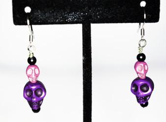 Earrings/ Purple and Pink Skull