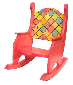 Child's Rocking Chair, Patchwork Stained, Pine