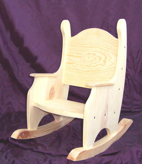 Unfinished Pine Child's Rocking Chair w/o Hearts
