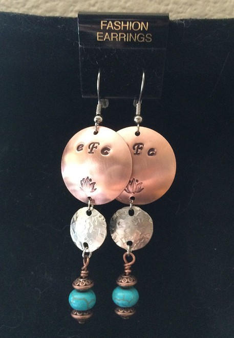 Personalized Earrings w/Turquoise Howlite Rondells