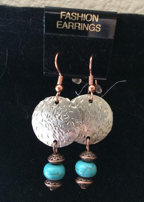 Earrings, Hammered Earrings w/Turquoise Howelite Rondell