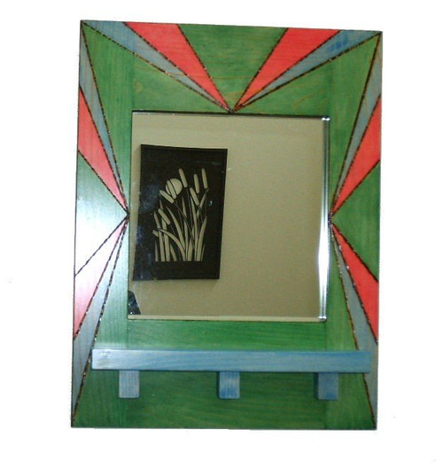 Pine Mirror w/Woodburned Design and Custom Stains