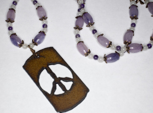 Necklace, Amethyst, Quartz and Copper