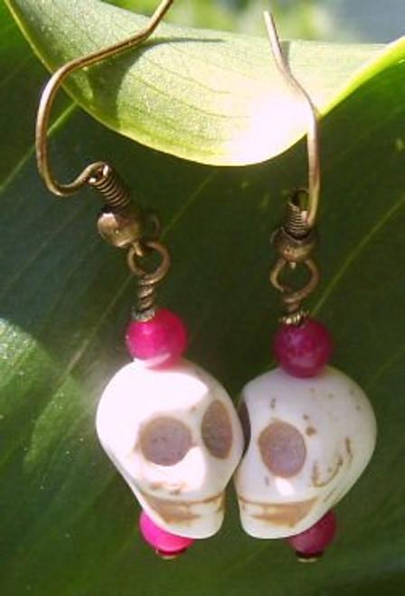 Earrings/ White Skull