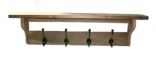 Unfinished Hardwood (walnut pictured) Coatrack/Shelf
