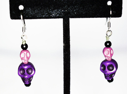 Purple and Pink Skull Earrings