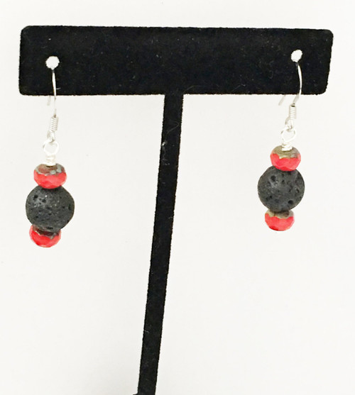 Earrings, Black Lava Rock Earrings w/Red Fired Crystals