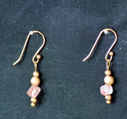 Earrings, Rose Gold Plated with Rose Quartz