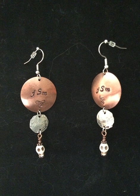 Earrings, Personalized, Handstamped w/Skulls