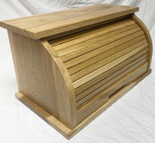 Side View Oak Bread Box.