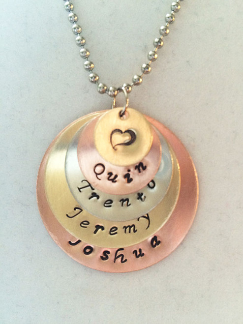 Necklace, Personalized Handstamped