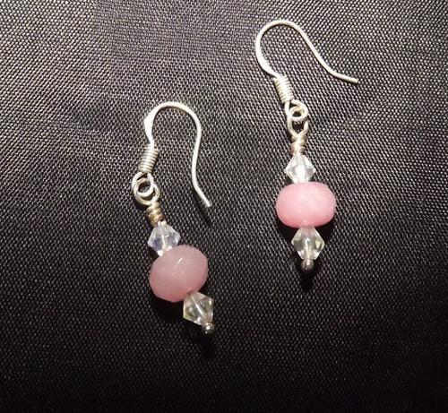 Earrings/ Sterling Silver w/ Pink Ruby