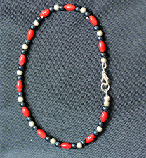 Anklet, Red Coral, Black and Silver
