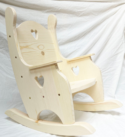 Side View Child's Rocking Chair with Hearts.