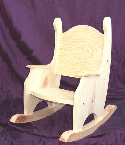 Child's Rocking Chair, Unfinished Pine w/o Hearts